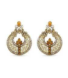 Buy Golden Chand Bali Designer Golden Dangle Earrings For Gorgeous Look hoop online