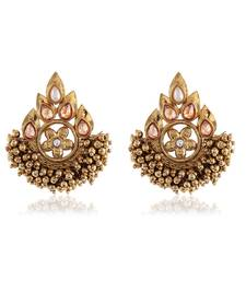 Buy Fancy Lcd Kundan Gold Finishing Dangle Earrings hoop online