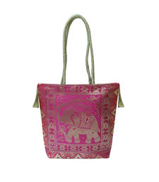 Buy Silk Gold Kissed Benarasi Handbag (Pink) handbag online