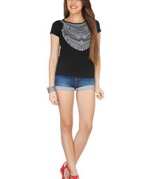 Buy Black viscose tops top online