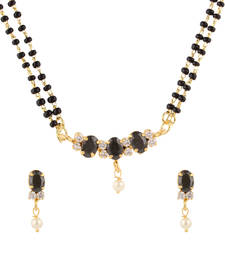 Buy Black cubic zirconia yellow gold mangalsutra mangalsutra online