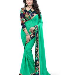 Buy light green plain pure georgette saree with blouse georgette-saree online