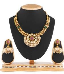Buy Traditional Beautiful White Kundan & Pearl With Pink Stone Design Necklace set Fashion Jewellery necklace-set online