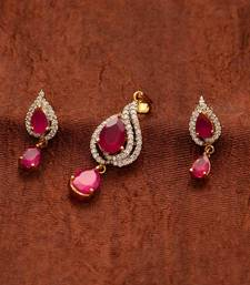 Buy Avni's leaf design cz stones, rubies pendent and earrings  Earring online