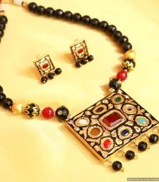 Buy Black Navratan Polki Necklace Set necklace-set online