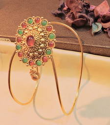 Buy gold plated ruby stone classy adjustable bajuband bajuband online