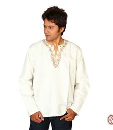 Buy Elegant Cotton Kurta with Embroidered V-neck Pattern men-kurta online