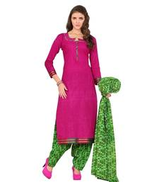 Buy Medium violet red cotton printed unstitched salwar with dupatta dress-material online