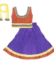 Buy Purple embroidered lehnaga choli with blouse kids-lehenga-choli online