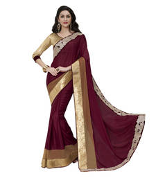 Buy maroon embroidered satin saree with blouse satin-saree online