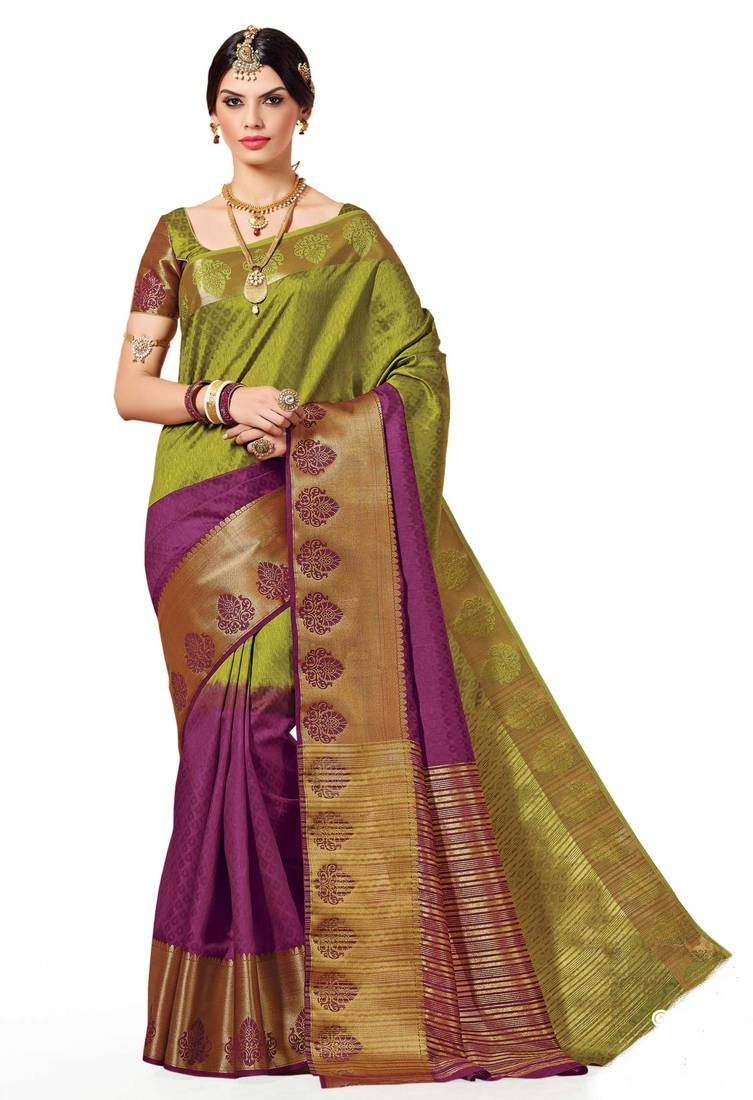 Buy Mehendi Woven Banarasi Silk Saree With Blouse Online
