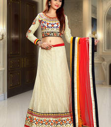 Buy Beige embroidered net lehenga choli lehenga-choli online