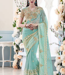 Buy aqua blue embroidered net saree with blouse wedding-saree online