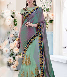 Buy sea green embroidered silk saree with blouse wedding-saree online