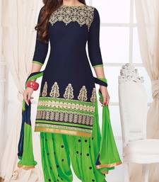 Buy Blue embroidered Cotton unstitched salwar with dupatta patiala-salwar online