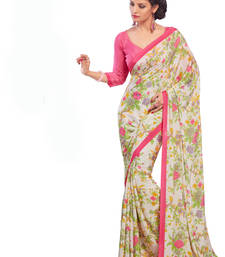 Pink printed crepe saree with blouse shop online