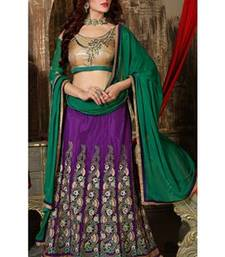 Purple  embroidered net and georgette unstitched lehenga choli shop online