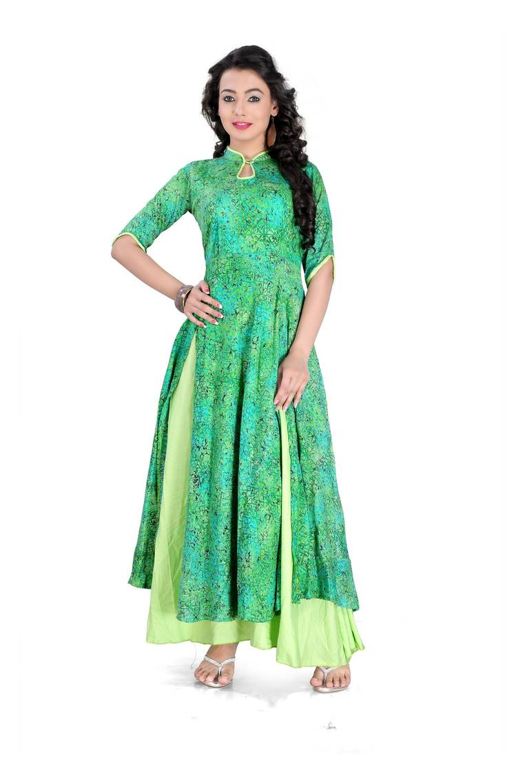 Buy Green casual wear rayon stitched kurti Online