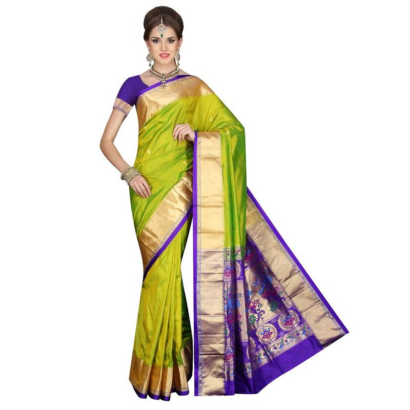 Buy Pea Green Traditional Paithani Pure Silk Sarees Online