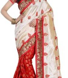 Buy Cream embroidered art silk saree with blouse art-silk-saree online