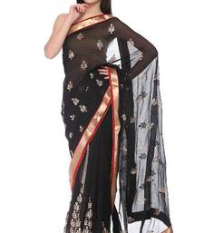 Buy Designer Black With Red Gold border Faux Georgette georgette-saree online