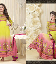 Buy Hypnotex Faux georgette Yellow + Pink salwar kameez Begam9241 dress-material online