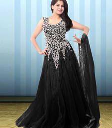 Buy Black net embroidered semi stitiched gown party-wear-gown online