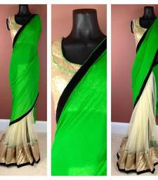 Buy Green Neon Saree georgette-saree online
