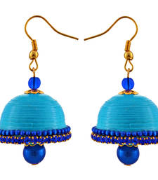 Buy Sky blue teracotta and dokra jhumkas terracotta-jewelry online