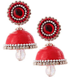Buy Red teracotta and dokra jhumkas terracotta-jewelry online