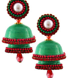 Buy Green teracotta and dokra jhumkas terracotta-jewelry online