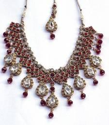 Buy Indian bridal zircon and colored stone stud royal vintage necklace set necklace-set online