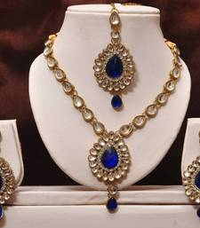 Buy Dark Blue Kundan Necklace Set necklace-set online
