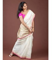 Buy Cream Chanderi Silk Cotton silk-saree online