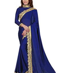Buy Blue Satin Silk Saree with Blouse Piece (Velvet_Embroidered_Border) satin-saree online