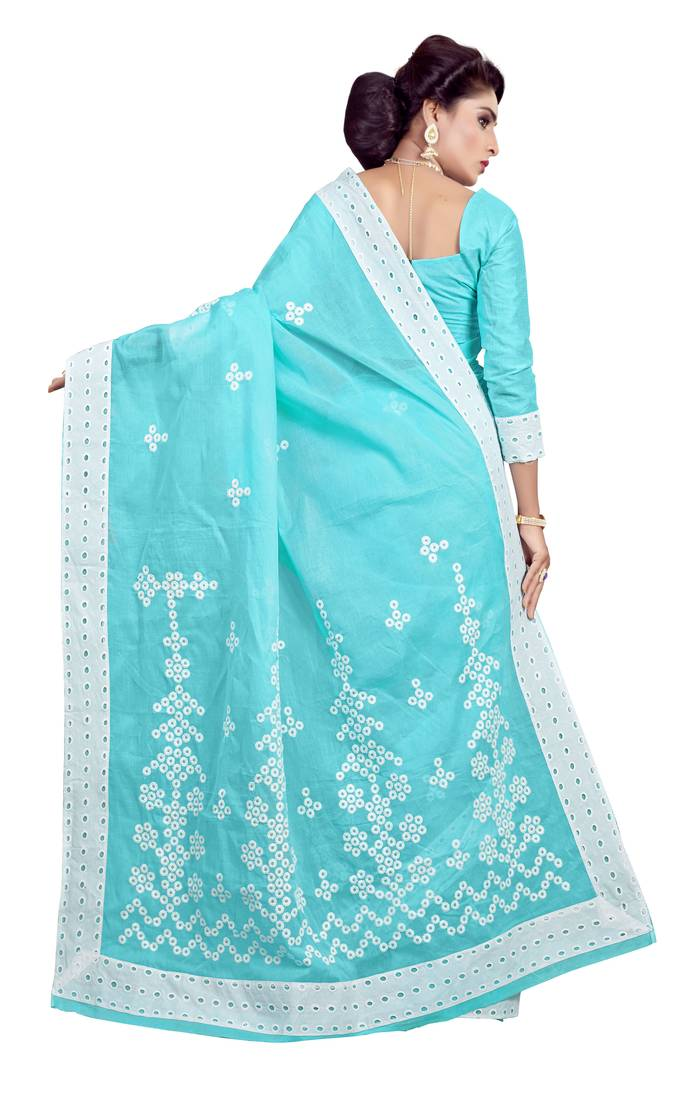 Buy Sky Blue Embroidered Cotton Saree With Blouse Online
