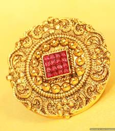 Buy Antique Gold look Ruby Adjustable ring wedding-ring online