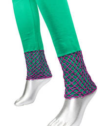 Buy Cotton Plain Leggings with Crochet Work | Green other-apparel online