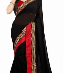 Buy Black embroidered faux georgette saree with blouse georgette-saree online