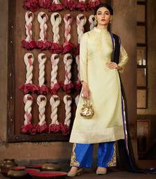 Buy Cream jacquard embroidered semi stitiched salwar with dupatta party-wear-salwar-kameez online