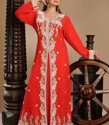 Buy Red georgette embroidered abaya abaya online