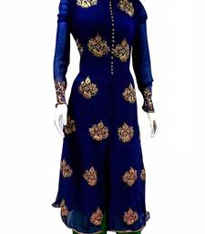 Buy Blue georgette embroidered unstitched salwar with dupatta dress-material online