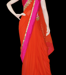 Buy Shocking orange chiffon-saree online