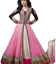 Buy Pink and white net embroidered semi stitiched salwar with dupatta anarkali-salwar-kameez online