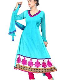 Buy Classic Blue Semi-Stitched Cotton Embroidered Anarkali Suit with Chiffon Dupatta D.No BA8612 dress-material online