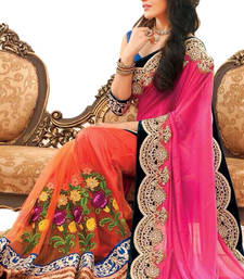 Buy Pink & Orange embroidered Silk and Net saree With Blouse wedding-saree online