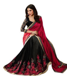 Buy Pink and Black embroidered Georgette saree With Blouse wedding-saree online
