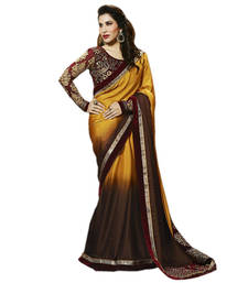 Buy multicolorembroidered Georgette saree With Blouse wedding-saree online