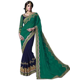 Buy Green and Blue embroidered Georgette saree With Blouse wedding-saree online
