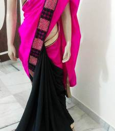 Buy Rawsilk with crepe georgette-saree online